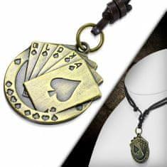 316Steel Kožený náhrdelník - Karty, Poker CTH495T