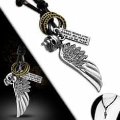 316Steel Kožený náhrdelník Lebka ,Křídlo CTH540T