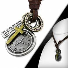 316Steel Kožený náhrdelník - Hodiny, Křížek CTH399T