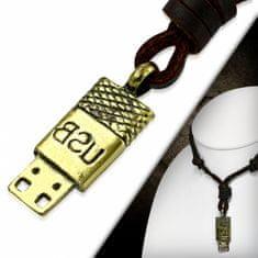 316Steel Kožený náhrdelník USB CTH446T