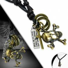 316Steel Pánský kožený náhrdelník s Pirátskou Lebkou