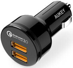 Aukey LLTS65484 auto punjač za brzo punjenje s priključcima 2× QuickCharge USB 3.0/36 W, crni