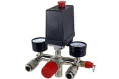 GEKO Tlakový spínač s vypínačem a regulátorem tlaku ke kompresoru 0-8 bar / 230 V