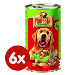 Propesko mokra karma dla psów- królik, wołowina, makaron - 6 x 1240 g