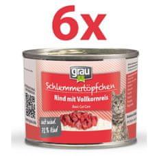 Grau Mokra hrana za mačke Grau, govedina in riž, 6 x 200 g