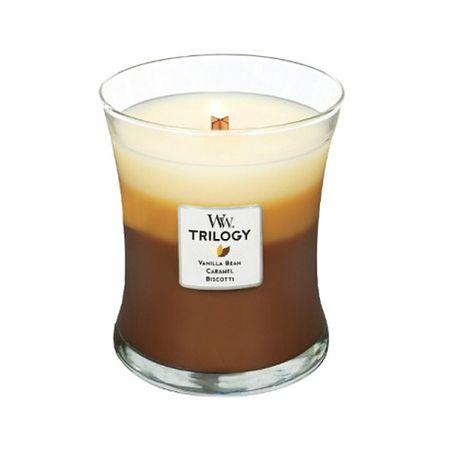 Woodwick Dišeča sveča Trilogy Cafe Sladice 275 g