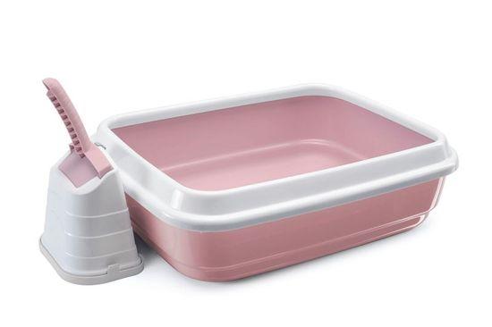 IMAC Kočičí záchod s vysokým okrajem a lopatkou, růžový - zánovní