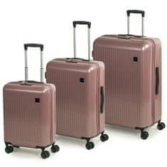 Rock Sada cestovních kufrů Windsor S + M + L, růžová