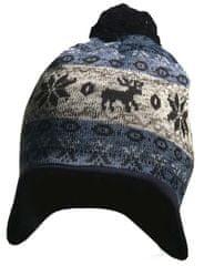 Yetty czapka dzianinowa z reniferem - niebieska
