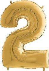 Grabo Nafukovací balónek číslo 2 zlatý 66cm