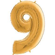 Grabo Nafukovací balónek číslo 9 zlatý 66cm