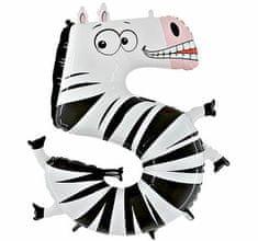 Grabo Nafukovací balónek zebra číslo 5 pro děti 102cm
