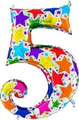 Grabo Nafukovací balónek číslo 5 barevné hvězdičky 102cm extra velký