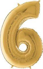 Grabo Nafukovací balónek číslo 6 zlatý 66cm