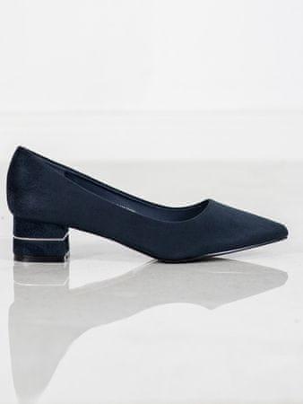 Exkluzívní dámské lodičky modré na širokém podpatku + dárek zdarma, odstíny modré, 37