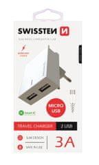 SWISSTEN Hálózati adapter IC, CE 2x USB 3 A power, fehér + adatkábel, 22041000