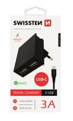 SWISSTEN pametni mrežni adapter, CE 2x USB 3A napajanje, crna + USB podatkovni kabel (22044000)