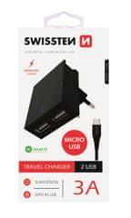 SWISSTEN Síťový adaptér smart IC, CE 2x USB 3 A power černý + datový kabel, 22042000