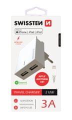 SWISSTEN Síťový adaptér smart IC, CE 2x USB 3 A power bílý + datový kabel USB / lightning, 22045000
