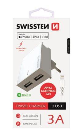 SWISSTEN pametni mrežni adapter, IC, CE 2x USB 3A napajanje, bijela + USB podatkovni kabel (22045000)