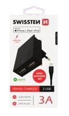 SWISSTEN pametni mrežni adapter, IC CE 2x USB 3 A napajanje, crna + USB podatkovni kabel (22046000)