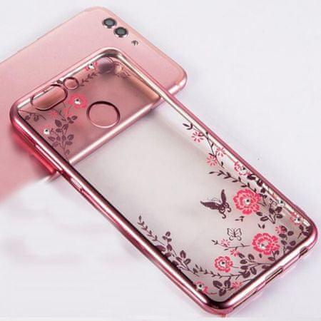 Ovitek za Samsung Galaxy A80 A805, roza z rožicami, silikonski