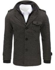 BUĎCHLAP Zaujímavý kabát v šedej farbe