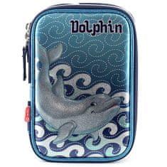 Target Šolska škatlica za svinčnike z delfinovim polnilom, modro