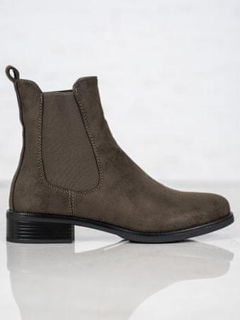 Trendy kotníčkové boty dámské zelené na plochém podpatku + dárek zdarma, odstíny zelené, 40
