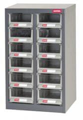 Shuter Kovový organizér pro dílenský materiál s 12 plastovými boxy - A6V-212H | Shuter