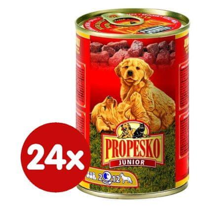 Propesko Junior Kutyaeledel, hal és csirke, 24 x 415 g