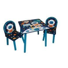 Cdiscount dětský malovaný stolek a dvě židle - vesmír a kosmonaut
