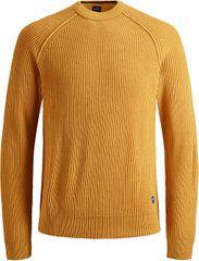 Jack&Jones Moški pulover JORPANNEL KNIT CREW NECK Sončnica