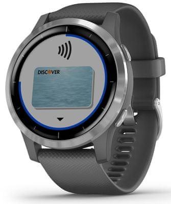 Chytré hodinky Garmin vivoactive 4, bezkontaktné platenie, platby, hudobný prehrávač, Spotify, Deezer, detekcia nehody, notifikácia z telefónu