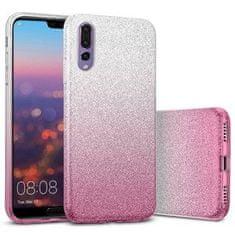 Bling maska za Huawei P Smart Z / Y9 Prime 2019, silikonska, srebrna s pink šljokicama