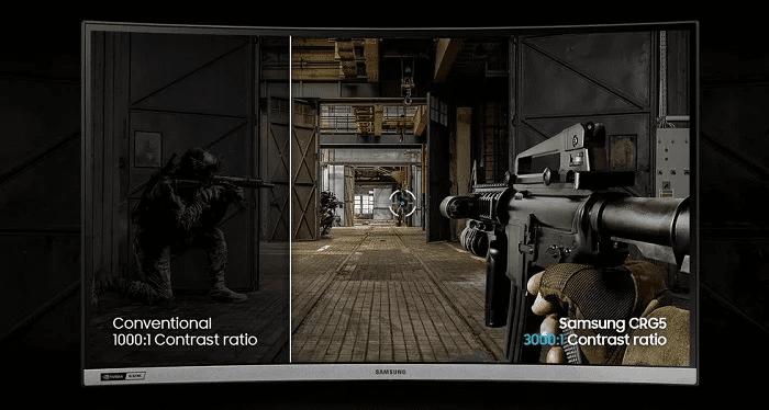 herní monitor Samsung C27RG50 (LC27RG50FQUXEN) herní režimy kontrastní poměr 3000:1