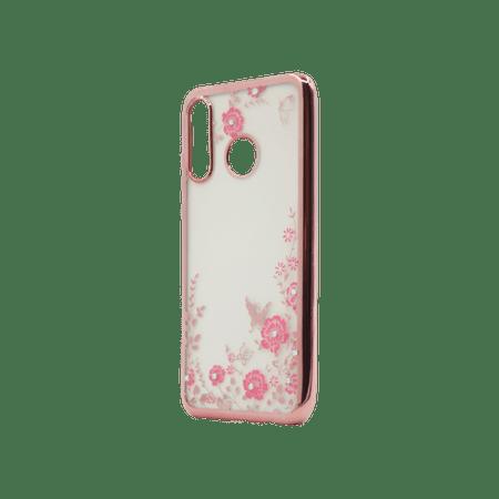 Ovitek za Huawei P30 Lite, silikonski, roza z rožicami