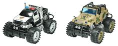 Mikro hračky Auto 2 ks polícia + army 26 cm na zotrvačník