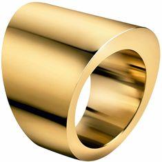 Calvin Klein Pozlačen jeklen prstan StylishKJ74BR0201