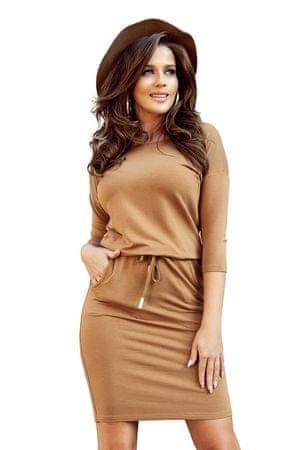 Numoco Sukienka damska 13-108, jasnobrązowy, XL