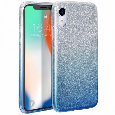 Bling ovitek za Huawei P30, silikonski, srebrn z modrimi bleščicami