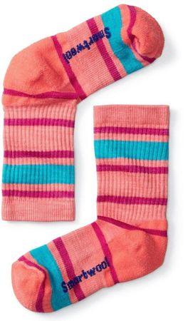 SmartWool K Hike Light Striped Crew dječje čarape, S, bright coral