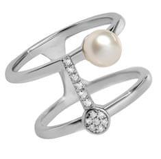 Silver Cat Eleganten prstan iz srebra z cirkoni in bisernim SC336 srebro 925/1000