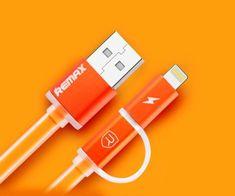 REMAX AA-1147 AURORA 2w1 KABEL USB pomarańczowy
