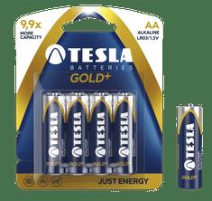 TESLA 1099137004 GOLD Alkaline baterie AA (LR06, tužková, blister) 4 ks