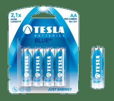 TESLA 1099137006 BLUE Zinc Carbon baterie AA (R06, tužková, blister) 4 ks