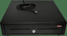Virtuos pokladničná zásuvka S-410, čierna s kovovými držiakmi bankoviek a káblom (EKO0103)