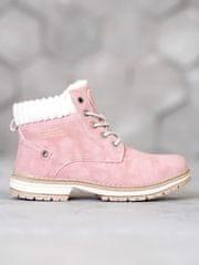 Trendy dámské kotníčkové boty růžové na plochém podpatku