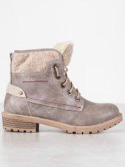 Designové šedo-stříbrné kotníčkové boty dámské na plochém podpatku