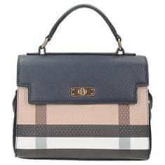 Modrá kufříková kabelka s barevným vzorem na přední straně